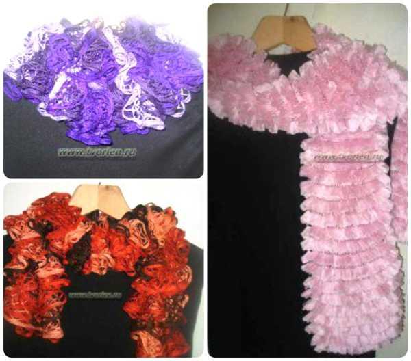 шарфы из ленточной пряжи