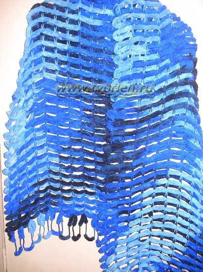 вяжем шарф из пряжи с помпонами (9)