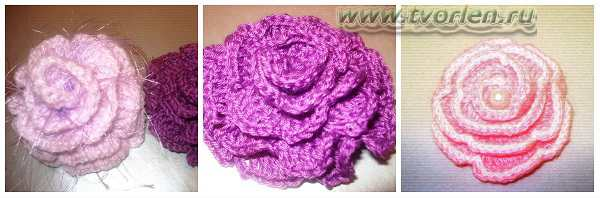 объёмный цветок крючком из вязаной ленты (5)