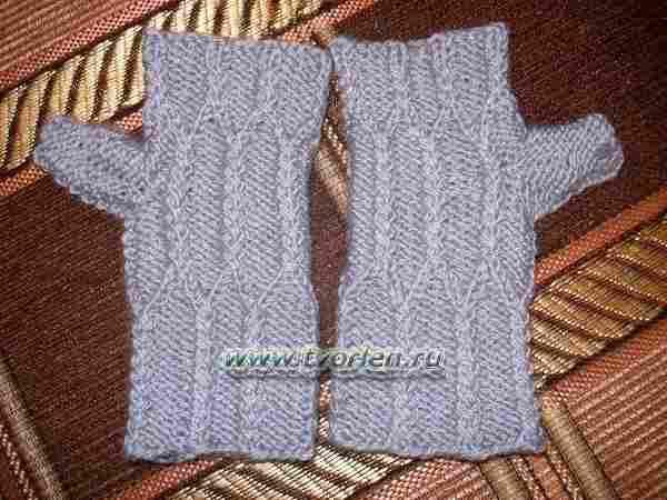 митенки спицами из двух видов пряжи (1)