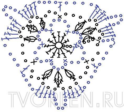Ажурный треугольный мотив с листиками (2)