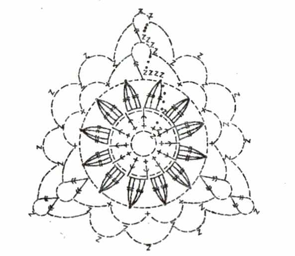 Ажурный треугольный мотив - схема