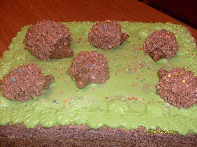 торт ёжики на поляне