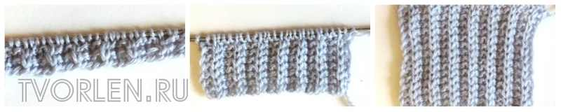 резинка патронташ спицами в процессе вязания