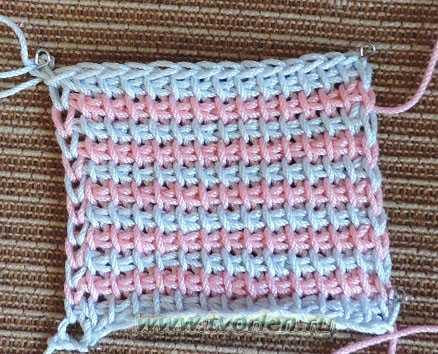 тунисское вязание в несколько цветов (6)