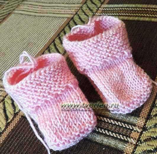 пинетки для новорожденного на двух спицах (13)
