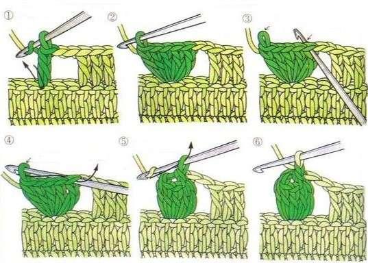 Вязание крючок шишечки 9