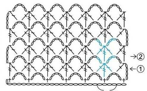 схема ажурного узора крючком 17-1-1