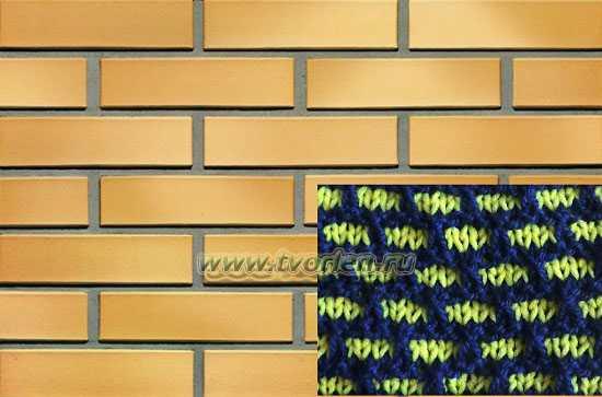 двухцветный узор спицами кирпичики (2)