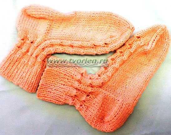 тёплые ажурные носочки спицами (8)