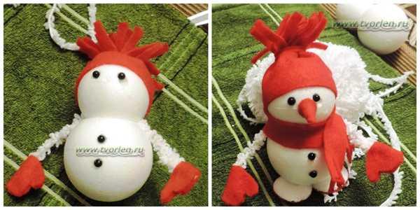 сделать снеговика
