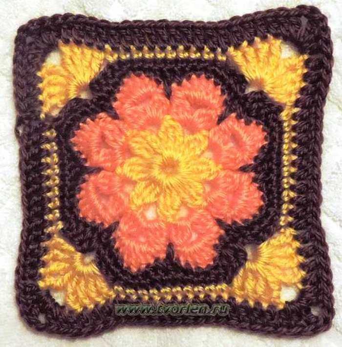 Большой квадратный мотив по типу африканского цветка (1)