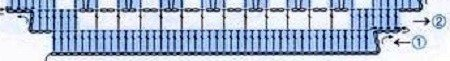 схема салфетки в технике филейного вязания-первый ряд