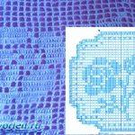 Схема простой салфетки с розочкой в технике филейного вязания