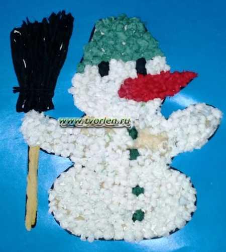 аппликация из бумаги снеговик