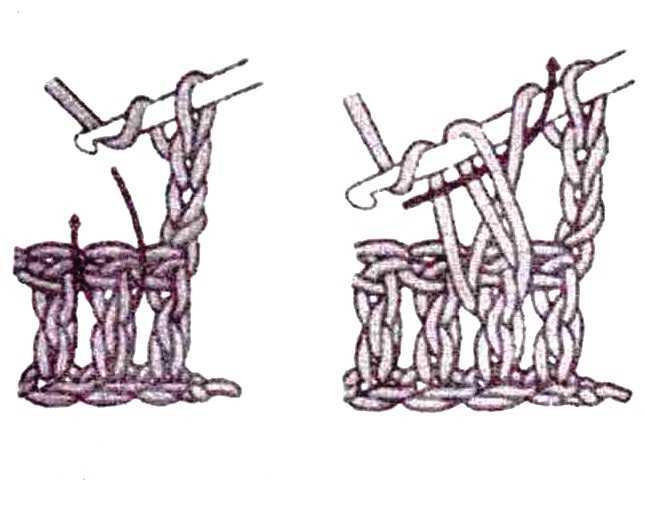 Вязание выпуклых и вогнутых столбиков 134