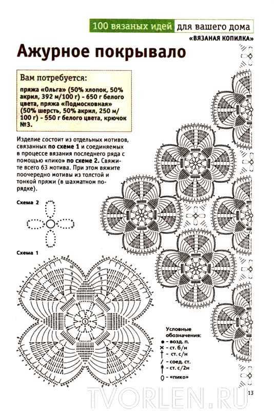 Пледы крючком схемы мотивы вязание крючком все схемы