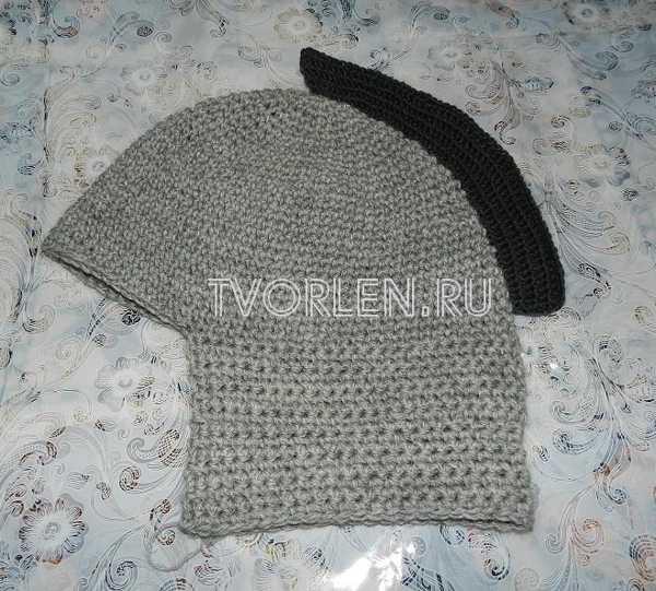 шапка шлем крючком - вяжем ирокез