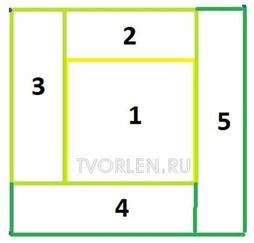квадрат пэчворк крючком - схема
