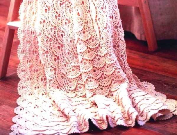 вязаное одеяло для малыша - мотив с ракушками