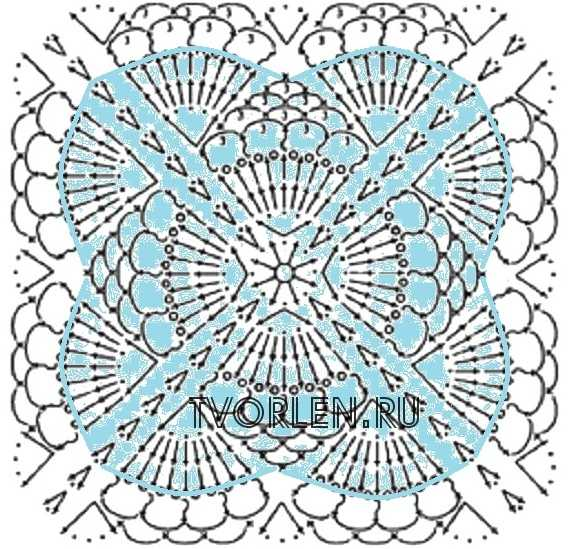 квадратный мотив с ракушками - схема - начало третьего круга