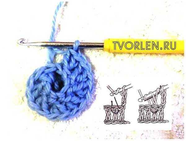 спиральный мотив крючком-вяжем второй ряд