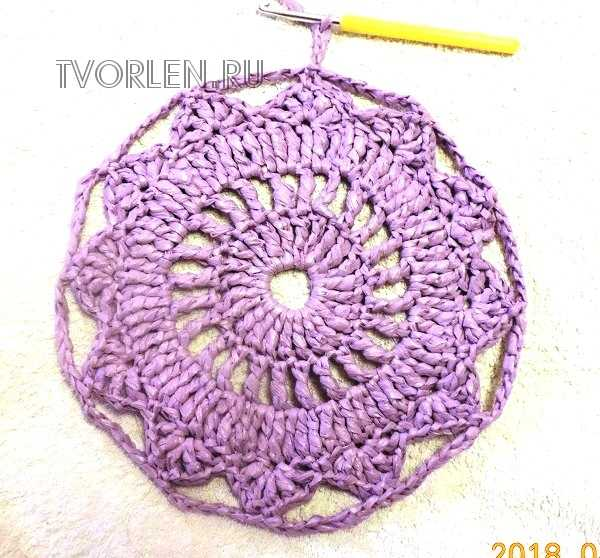 пять рядов вязаного коврика