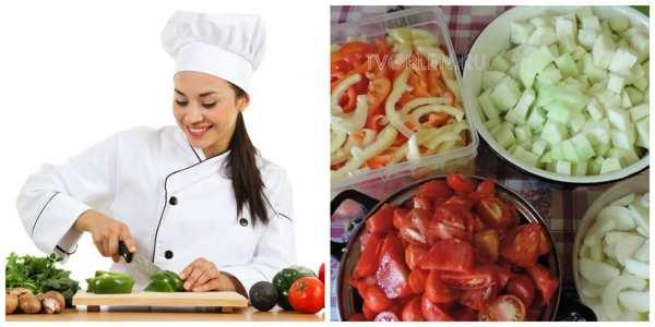 заготовки из овощей - режем овощи