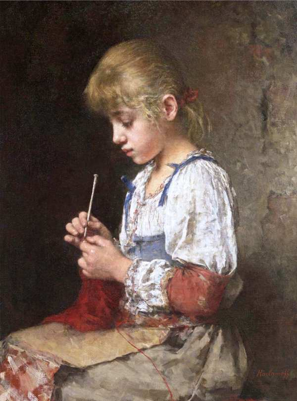 девочка с вязанием А.Харламов