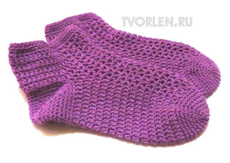 вязание носок крючком от мыска
