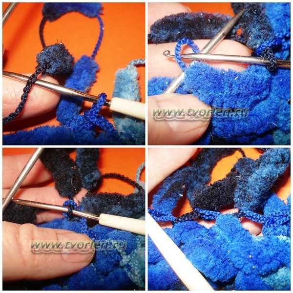 вяжем шарф из пряжи с помпонами (2)