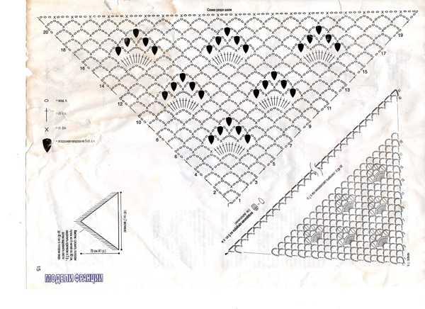 схема шали крючком