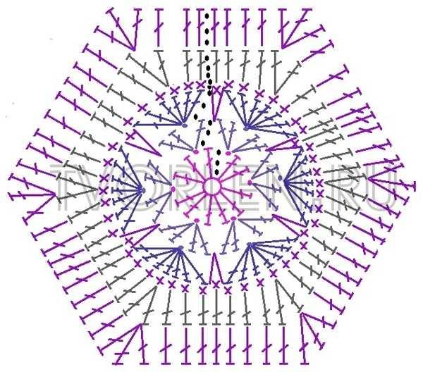 схема шестиугольного мотива африканский цветок