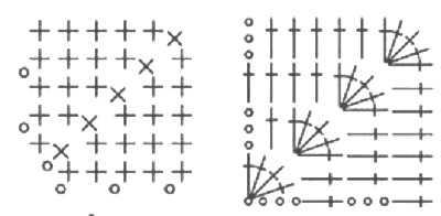 как связать квадрат крючком-с угла