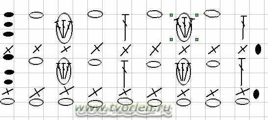 схема ажурного узора крючком 14