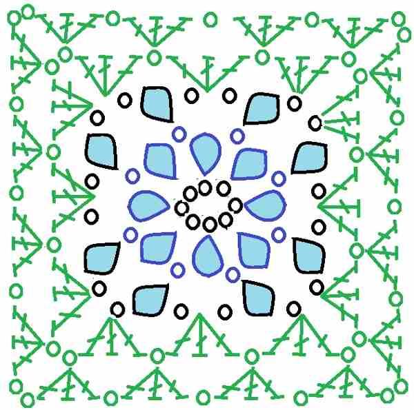 схема квадрата с цветком