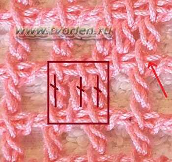 заполненная клетка филейной сетки тунисским крючком