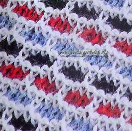 двухцветный узор спицами кирпичики (1)