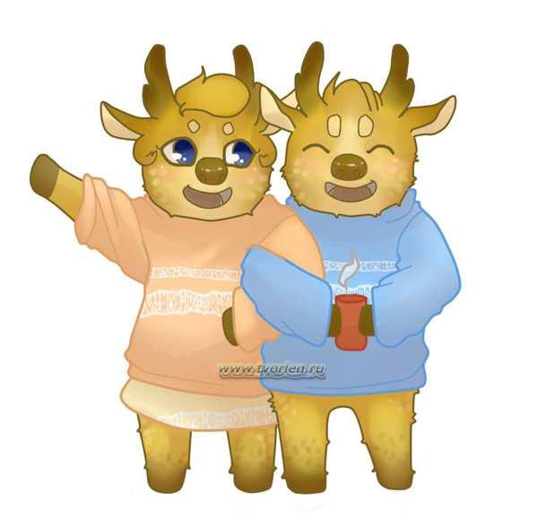 пара новогодних оленей