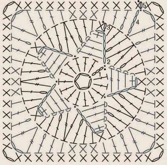 квадратный мотив со звездой - схема