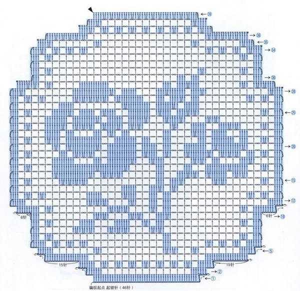 салфетка с розочкой в технике филейного вязания - схема