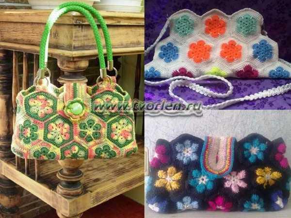 Три вязаные сумки крючком «Цветочная поляна». Схема раскладка мотивов