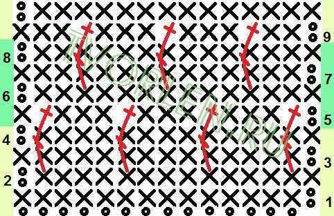 схема узора с накладными столбиками