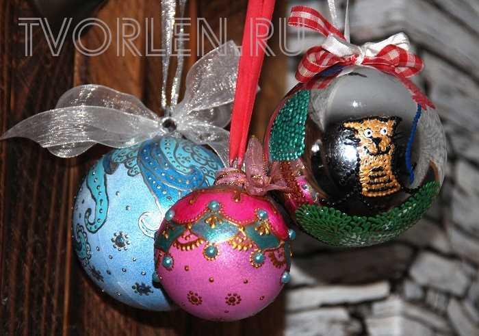 Украшение ёлочных шаров или как обновить ёлочные шарики — Мастер-класс от Оксаны (Конкурсная работа)