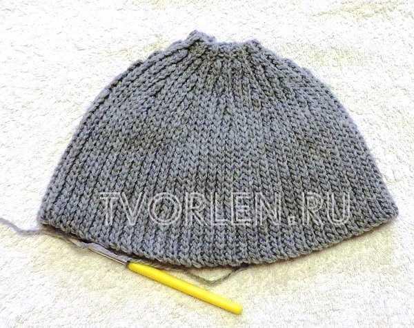 шапка бини мужская - вяжем крючком поперечными рядами