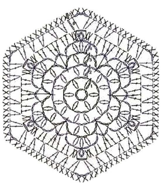 мотив снежинка крючком - схема