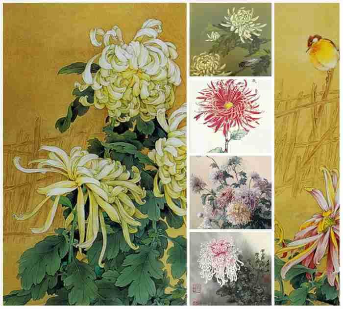 китайские картины с хризантемами