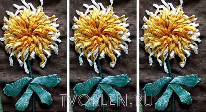 Хризантема — объёмная вышивка Виктории Константиновой (конкурсная работа)