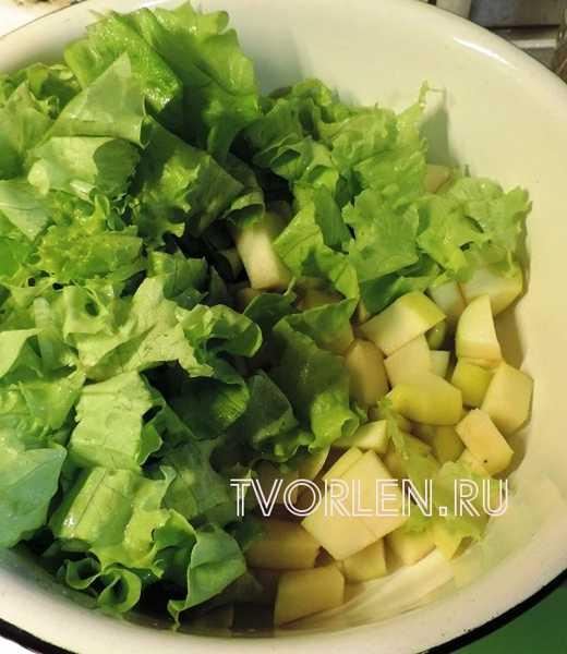 салат с курицей, ананасами и яблоком (4)