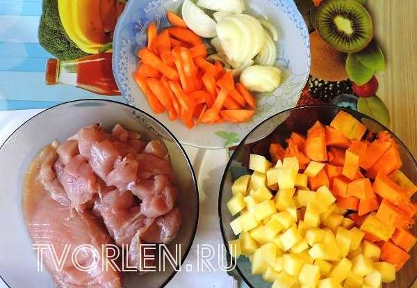 тыквенный суп-пюре на курином бульоне-ингредиенты
